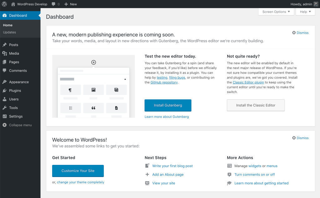 WordPress 5.0 Dashboard